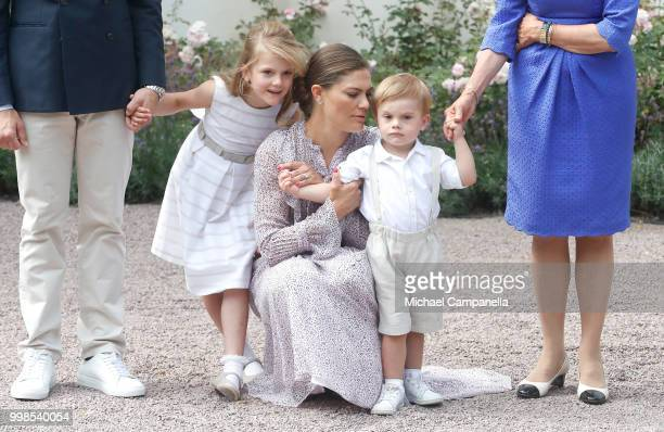 Princess Estelle of Sweden, Crown Princess Victoria of Sweden and Prince Oscar of Sweden during the occasion of The Crown Princess Victoria of...
