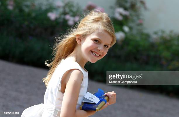Princess Estelle of Sweden during the occasion of The Crown Princess Victoria of Sweden's 41st birthday celebrations at Solliden Palace on July 14,...