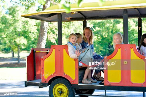 Princess Estelle of Sweden goes with a train to her school Campus Manilla for her first day at school in Stockholm on August 21 2018 / Sweden OUT