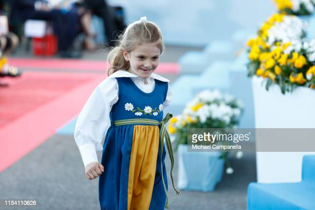 Princess Estelle of Sweden is running after facing a brief emergency during a ceremony celebrating Sweden's national day at Skansen on June 06 2019...