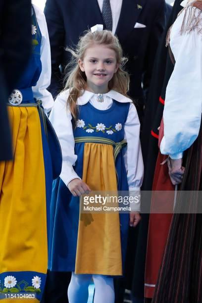 Princess Estelle of Sweden participates in a ceremony celebrating Sweden's national day at Skansen on June 06, 2019 in Stockholm, Sweden.