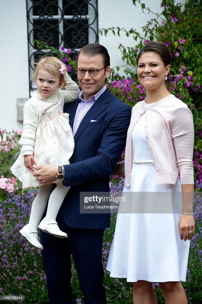 Princess Estelle of Sweden, Prince Daniel, Duke of Vastergotland and Crown Princess Victoria of Sweden attend the Victoria Day celebrations, on the Crown Princess's 37th Birthday, at Solliden on July 14, 2014 in Oland, Sweden.