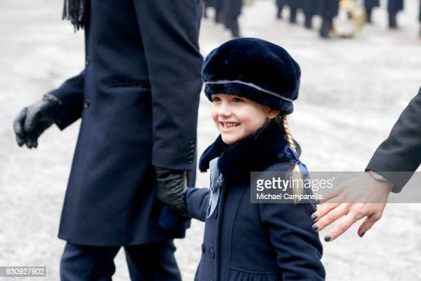 Princess Estelle participates in a celebration for the Crown Princess' name day at the Stockholm Royal Palace on March 12 2018 in Stockholm Sweden