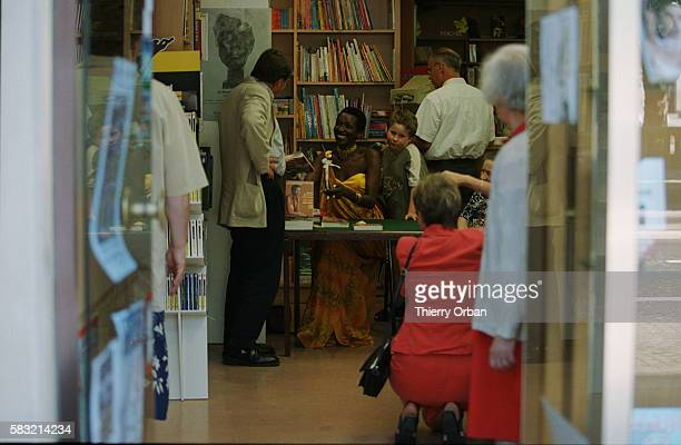 Princess Esther Kamatari dedicates her book 'Esther Kamatari Princesse des Rugo' in a book shop in Le Havre