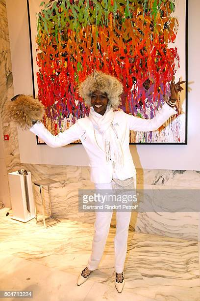 Princess Esther Kamatari du Burundi attends the Guerlain collaboration with Graffiti Artist JonOne Color Flows Exhibition Launch's Cocktail Event at...