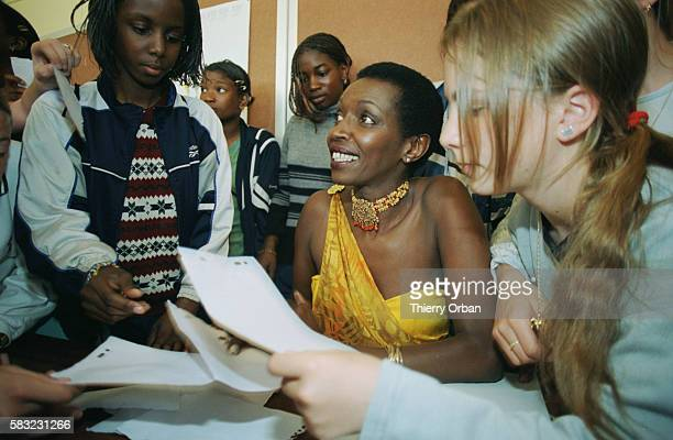 Princess Esther Kamatari meets students in the Jules Vales Secondary School in Le Havre during a class on the French speaking world
