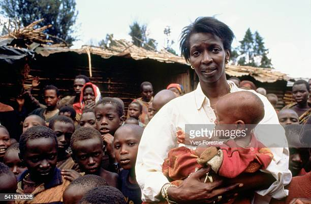 Princess Esther meeting children from Mbuye camp in 1996 The camp sheltered 2000 children who had escaped the massacres