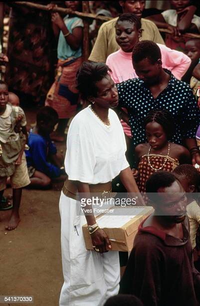 Princess Esther meeting children from Mbuye camp in 1996 The camp held two thousand children who had escaped the massacres