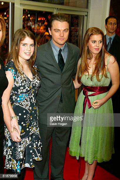 HRH princess Eugenie actor Leonardo DiCaprio and HRH princess Beatrice arrive at the UK Premiere of The Aviator at the Odeon West End on December 19...