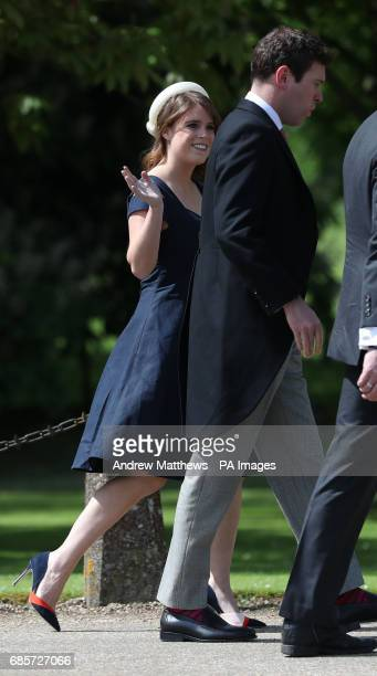 Princess Eugenie and and her partner Jack Brookbank arrive ahead of the wedding of the Duchess of Cambridge's sister Pippa Middleton to her...