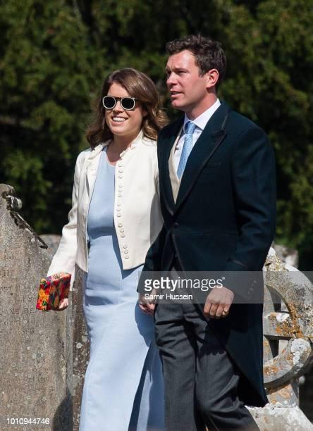 Princess Eugenie and fiance Jack Brooksbank attend the wedding of Charlie Van Straubenzee on August 4 2018 in Frensham United Kingdom Prince Harry...