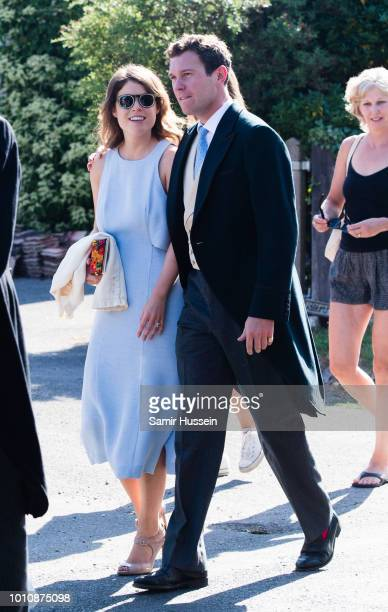 Princess Eugenie and fiance Jack Brooksbank attends the wedding of Charlie Van Straubenzee on August 4 2018 in Frensham United Kingdom Prince Harry...