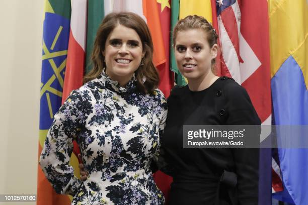 Princess Eugenie and her Sister Princess Beatrice of York posing in front of the flags of several nations at the United Nations in New York City, New...