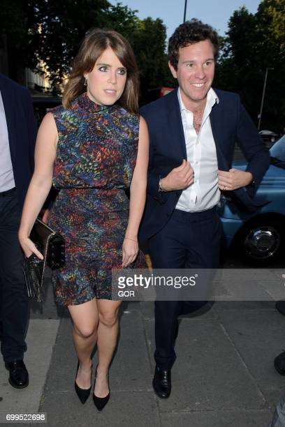 Princess Eugenie and Jack Brooksbank arriving at the VA Summer party on June 21 2017 in London England