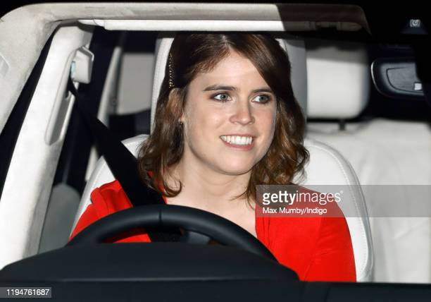 Princess Eugenie and Jack Brooksbank attend a Christmas lunch for members of the Royal Family hosted by Queen Elizabeth II at Buckingham Palace on...