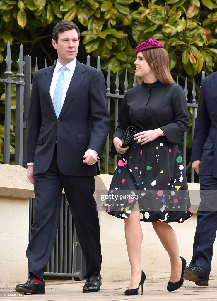 Princess Eugenie and Jack Brooksbank attend an Easter Service at St George's Chapel on April 1, 2018 in Windsor, England.