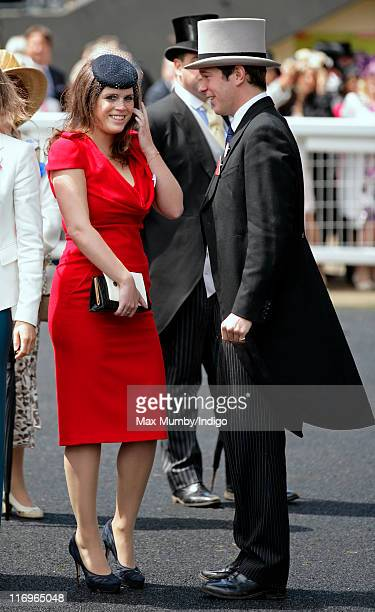 Princess Eugenie and Jack Brooksbank attend day five of Royal Ascot at Ascot Racecourse on June 18 2011 in Ascot United Kingdom