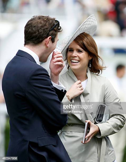 Princess Eugenie and Jack Brooksbank attend day three of the Qatar Goodwood Festival at Goodwood Racecourse on July 30 2015 in Chichester England