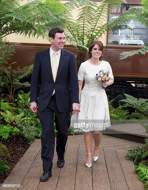 Princess Eugenie and Jack Brooksbank attend the Chelsea Flower Show press day at Royal Hospital Chelsea on May 23 2016 in London England The show...
