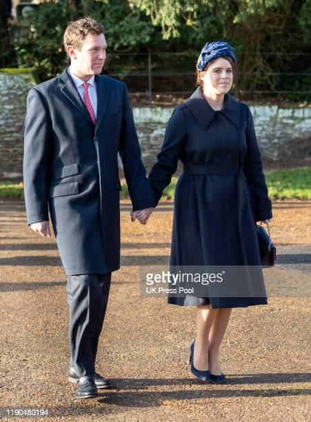 Princess Eugenie and Jack Brooksbank attend the Christmas Day Church service at Church of St Mary Magdalene on the Sandringham estate on December 25,...