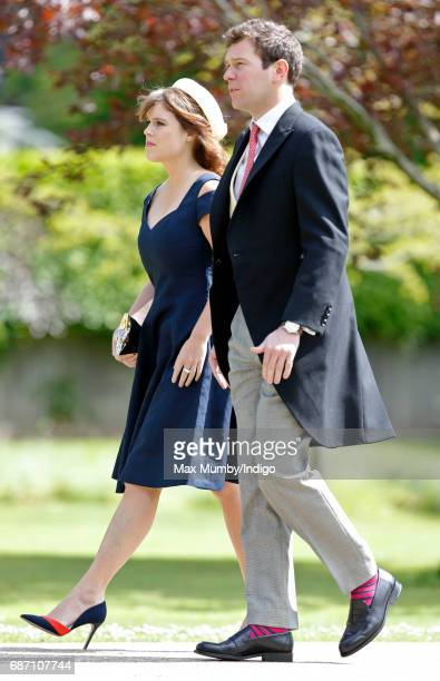 Princess Eugenie and Jack Brooksbank attend the wedding of Pippa Middleton and James Matthews at St Mark's Church on May 20, 2017 in Englefield...