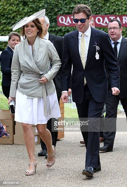 Princess Eugenie and Jack Brooksbank attends Glorious Goodwood at Goodwood on July 30 2015 in Chichester England