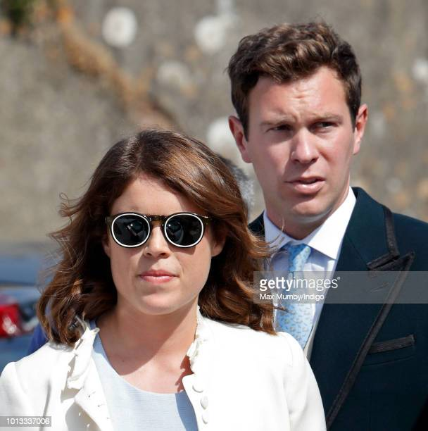 Princess Eugenie and Jack Brooksbank attends the wedding of Charlie van Straubenzee and Daisy Jenks at the church of St Mary the Virgin on August 4...