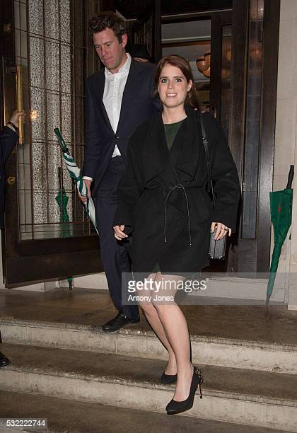 Princess Eugenie and Jack Brooksbank leave 34 Restaurant at 34 Grosvenor Squareon May 18 2016 in London England
