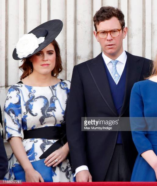 Princess Eugenie and Jack Brooksbank watch a flypast from the balcony of Buckingham Palace during Trooping The Colour, the Queen's annual birthday...