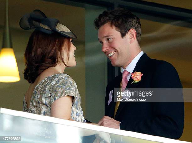 Princess Eugenie and Jack Brooksbank watch the racing as they attend day 4 of Royal Ascot at Ascot Racecourse on June 19 2015 in Ascot England