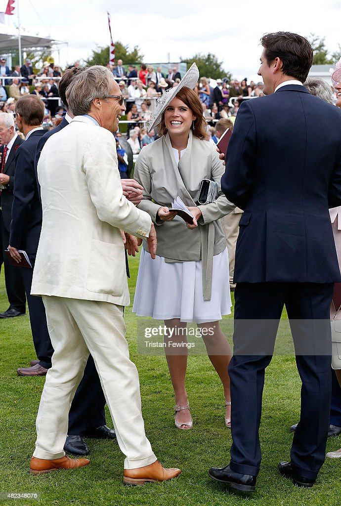 Princess Eugenie and Lord March (L) on day three of the Qatar Goodwood Festival at Goodwood Racecourse on July 30, 2015 in Chichester, England.