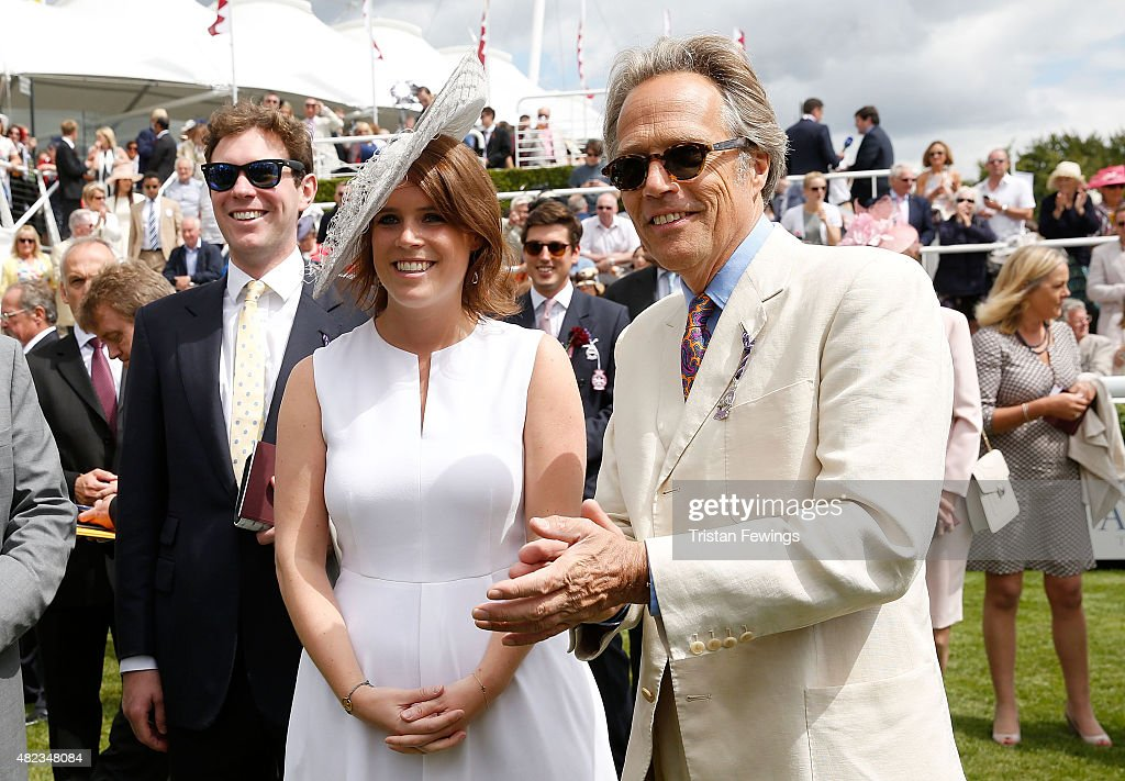 Princess Eugenie and Lord March (R) on day three of the Qatar Goodwood Festival at Goodwood Racecourse on July 30, 2015 in Chichester, England.