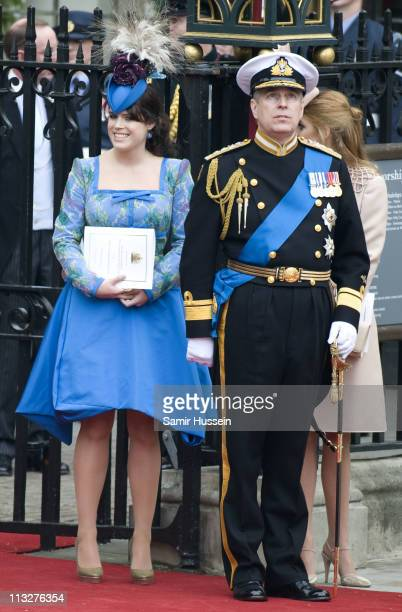 Princess Eugenie and Prince Andrew Duke of York depart the marriage of Their Royal Highnesses Prince William Duke of Cambridge and Catherine Duchess...