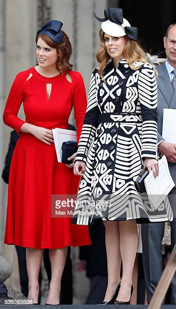 Princess Eugenie and Princess Beatrice attend a national service of thanksgiving to mark Queen Elizabeth II's 90th birthday at St Paul's Cathedral on...