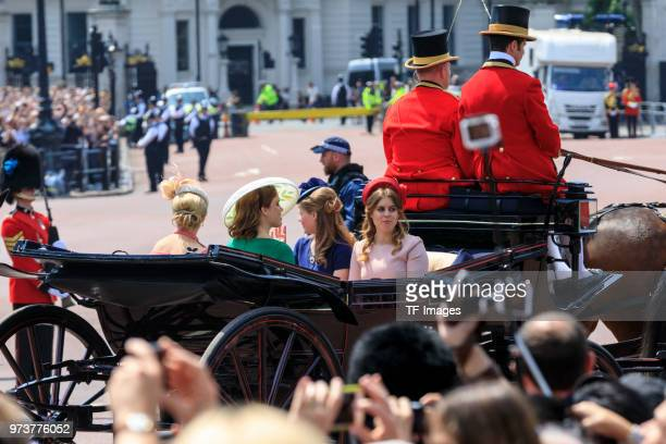 Princess Eugenie and Princess Beatrice attend the celebration of the Queen's birthday called Trooping The Colour on June 9 2018 in London England
