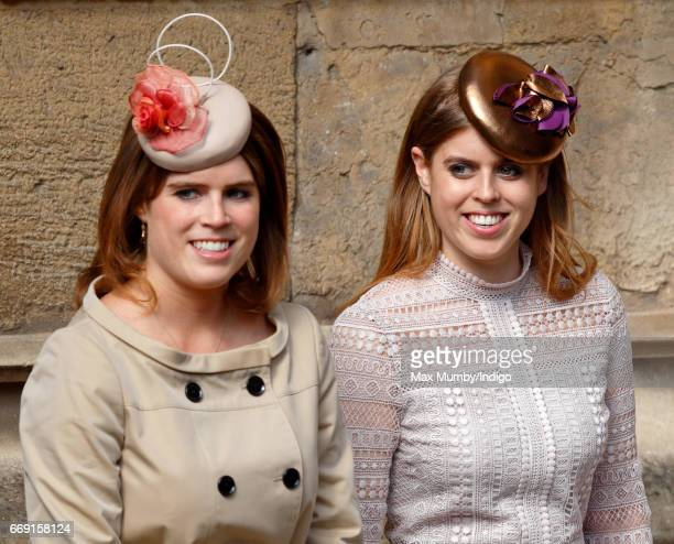 Princess Eugenie and Princess Beatrice attend the traditional Easter Sunday church service at St George's Chapel Windsor Castle on April 16 2017 in...