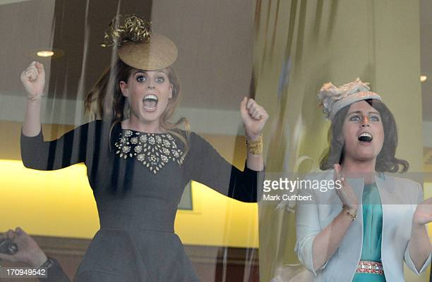Princess Eugenie and Princess Beatrice cheer on the Queens horse Estimate to win The Gold Cup on Ladies Day on Day 3 of Royal Ascot at Ascot...