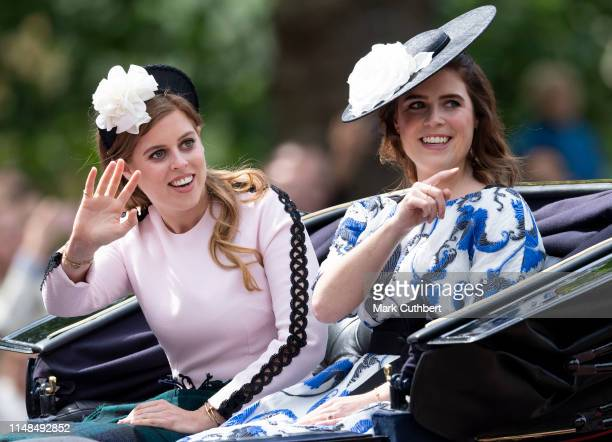 Princess Eugenie and Princess Beatrice during Trooping The Colour, the Queen's annual birthday parade, on June 8, 2019 in London, England.