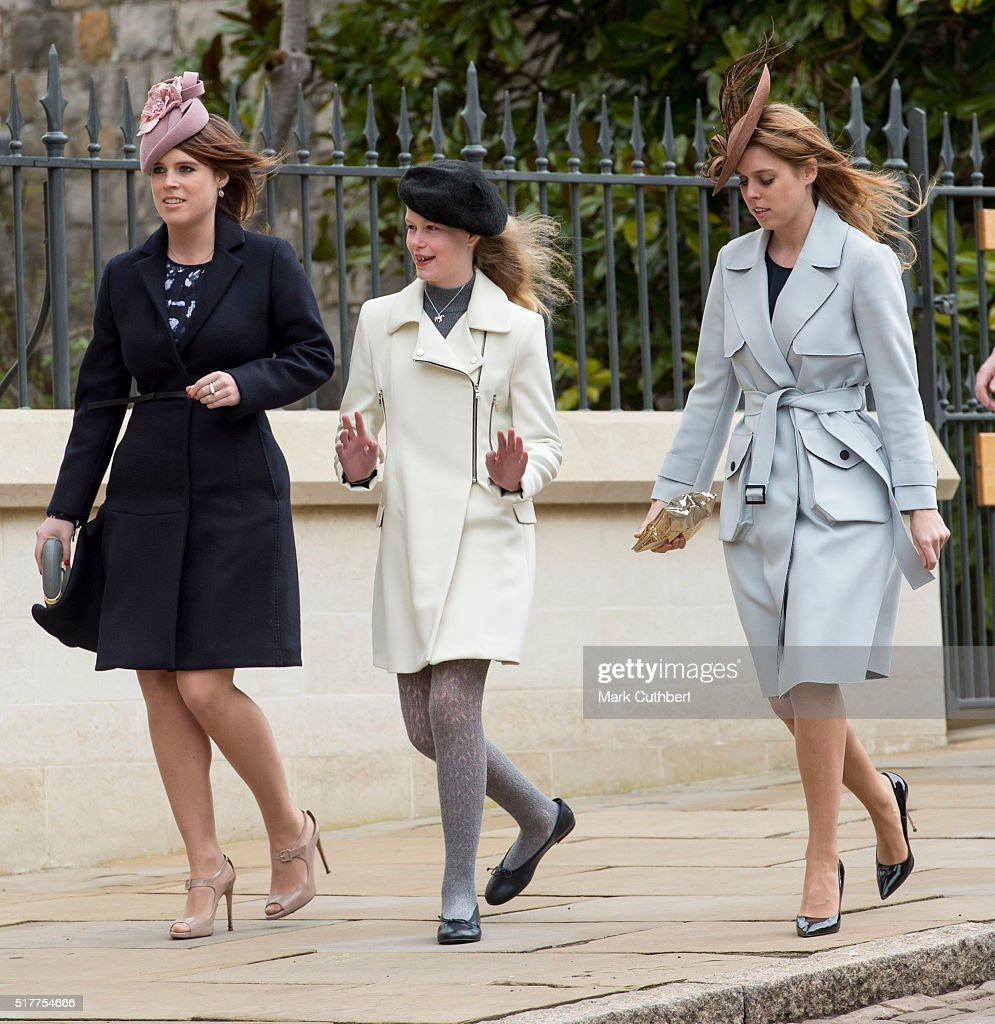 Princess Eugenie and Princess Beatrice with Lady Louise Windsor attend the Easter Sunday Service at St George's Chapel on March 27, 2016 in Windsor, England.