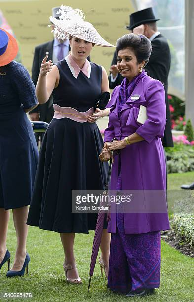 Princess Eugenie and Princess Sarvath alHassan on day 3 of Royal Ascot at Ascot Racecourse on June 16 2016 in Ascot England
