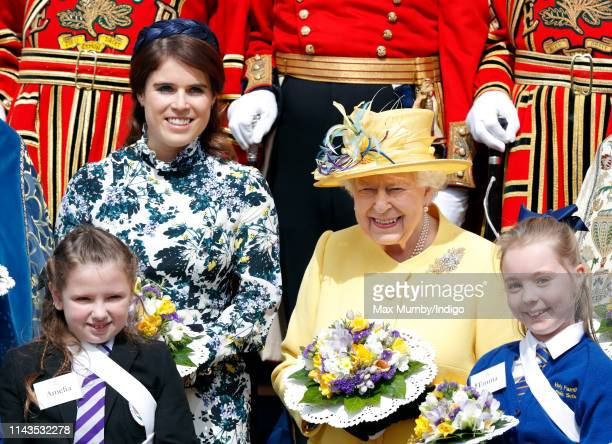 Princess Eugenie and Queen Elizabeth II attend the traditional Royal Maundy Service at St George's Chapel on April 18 2019 in Windsor England During...