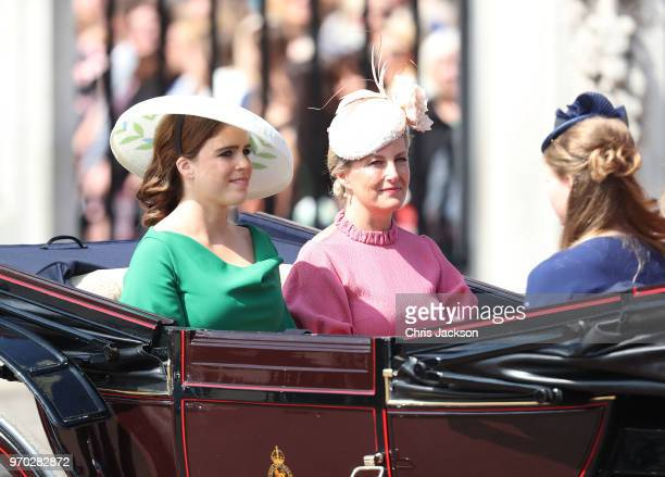 Princess Eugenie and Sophie Countess of Wessex during Trooping The Colour on the Mall on June 9 2018 in London England The annual ceremony involving...