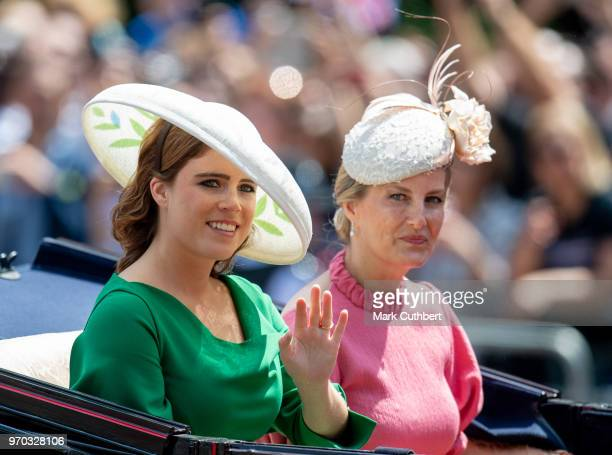 Princess Eugenie and Sophie Countess of Wessex during Trooping The Colour 2018 on June 9 2018 in London England