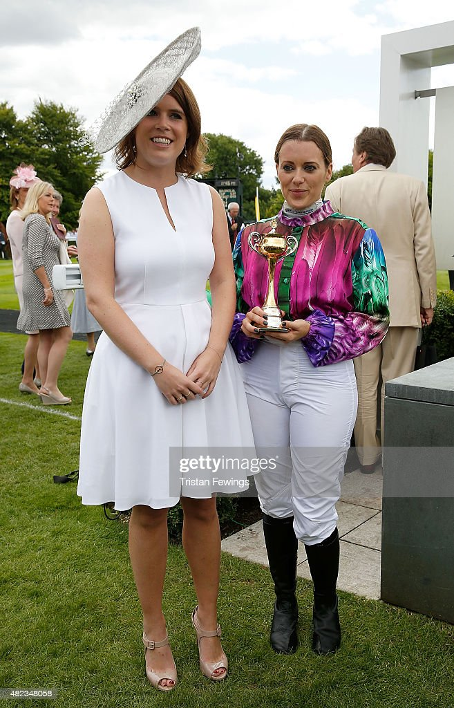Princess Eugenie and winning jockey Camilla Henderson on day three of the Qatar Goodwood Festival at Goodwood Racecourse on July 30, 2015 in Chichester, England.