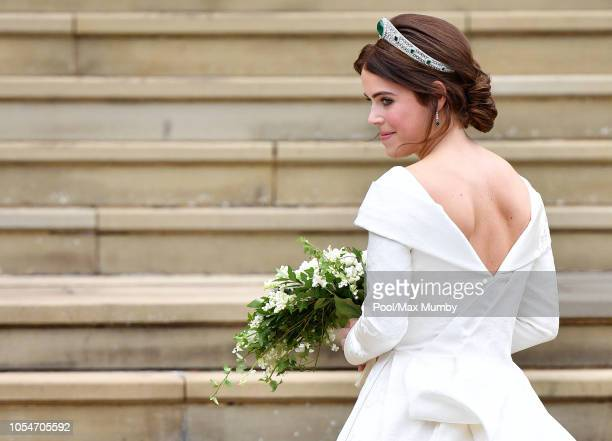 Princess Eugenie arrives at St George's Chapel ahead of her and Jack Brooksbank's wedding ceremony on October 12 2018 in Windsor England