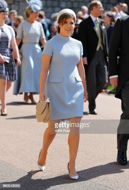 Princess Eugenie arrives at St George's Chapel at Windsor Castle before the wedding of Prince Harry to Meghan Markle on May 19 2018 in Windsor England