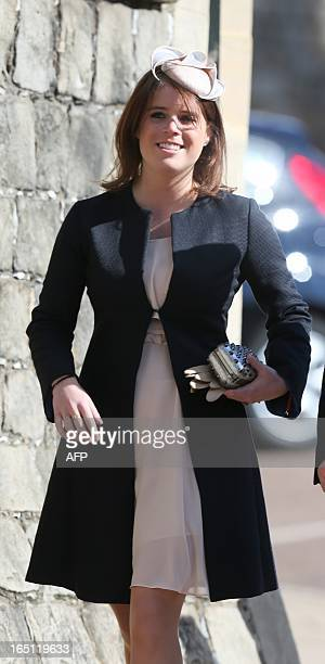 Princess Eugenie arrives at the Easter service at St George's Chapel in the grounds of Windsor Castle in Windsor on March 31 2013 AFP PHOTO/POOL/...