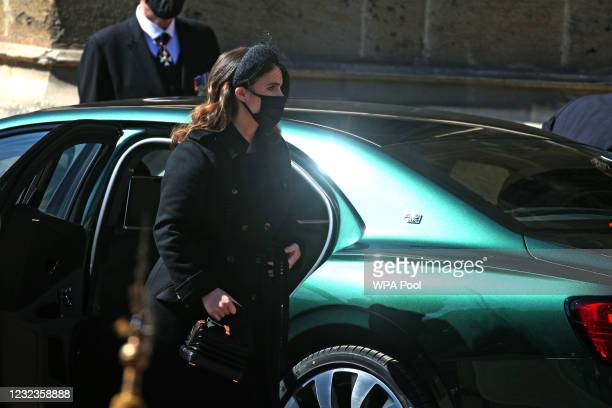 Princess Eugenie arrives at the Galilee Porch of St George's Chapel for the funeral of Prince Philip, Duke of Edinburgh, at Windsor Castle on April...