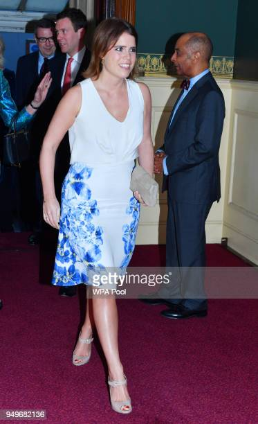 Princess Eugenie arrives at the Royal Albert Hall to attend a starstudded concert to celebrate the Queen's 92nd birthday on April 21 2018 in London...