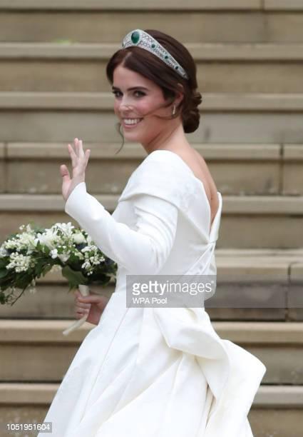 Princess Eugenie arrives for her wedding to Jack Brooksbank at St George's Chapel Windsor Castle on October 12 2018 in Windsor England